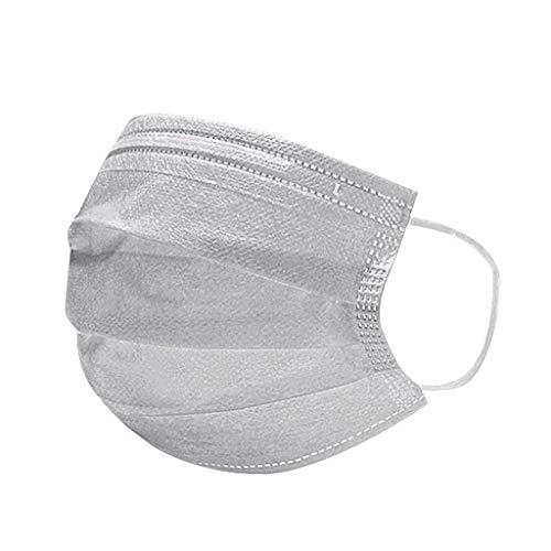 Aujelly 50 Stück Einweg Mundschutz Erwachsene 3-lagig Atmungsaktiv Komfortabel Einweg Mund und Nasenschutz Staubdicht Mund-Nasen Bedeckung Halstuch Schals B001 (Erwachsene, Einweg-Grau)
