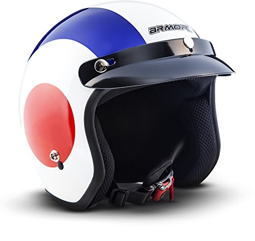 """Armor · AV-47 """"Retro"""" · Casco moto Demi Jet · Scooter Urban Retro motocicleta Helmet Urbano · DOT certificado · Click-n-Secure™ Clip · Bolsa de transporte · S (55-56cm)"""