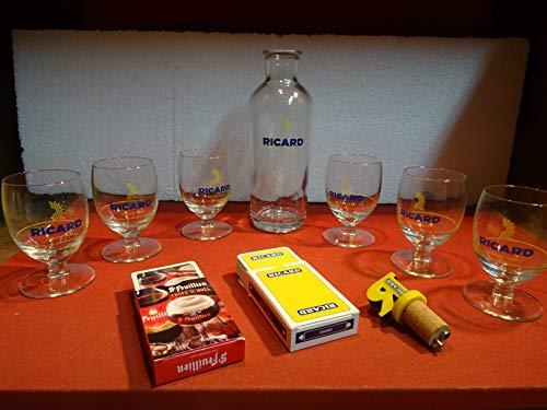 6Ricard-Kelchgläser, 17cl + 1Karaffe + 1 Messbecher + 1 Ricard-Kartenspiel mit 52 Karten.