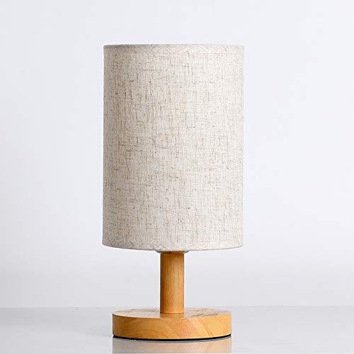 Lámpara de mesa LE, lámpara de noche LED con control remoto, funda redonda de algodón y lino con fondo de madera, lámpara de mesa de diseño retro clásico adecuada para dormitorio, estudio, sala de est