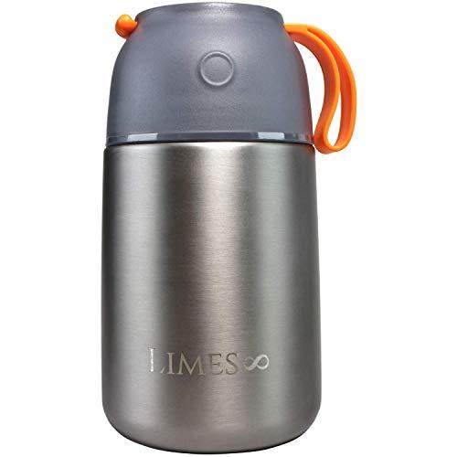 Limes 8 Thermobehälter 700ml | Edelstahl Isolierbehälter | auslaufsicherer Speisebehälter Essen | Thermo Gefäß Babynahrung Speisegefäß Diätkost Müsli to go (Grau/Orange 700ml)