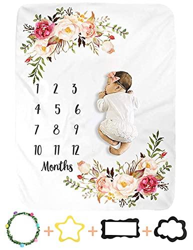 Genfien Bebé Manta Mensual Hito Franela Manta Mensual De Hito Para Bebé Manta Mensual De Bebé Para Fotos Regalos Personalizados Para Futuras Mamás para Bebé Recién Nacido