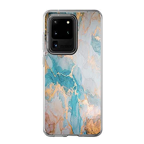 [Tiere Schmetterling Marmor Muster Transparent] kompatibel mit Samsung Galaxy S20 Ultra Hülle (6.9 Zoll) Süße zeichnung weichem TPU mit Panzerglas Schutzfolie Galaxy S20 Ultra case Blumen Garten-4