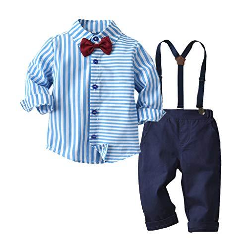 Baby Junge Taufe Kleidung,TTLOVE Kleinkind Boys Gentleman Fliege Krawatte Hemd T-Shirt Tops + HosenträGer Hosen Outfits Bekleidung Set,Kinderkleidung Herbst Hochzeit Festlich Anzug(Blau,100)