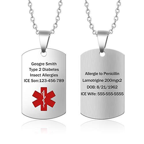 Medical Alert Necklace for Men Women Stainless Steel Engraved Medical ID Tag Emergency Med Alert Necklace for Men & Women Medical Alert Jewelry (Silver)