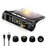 Zmoon TPMS Car Tire Pressure Monitoring System with Solar Power Universal Wireless LCD Display and 4 External Sensors Real-time Display 4 Tires' Pressure & Temperature