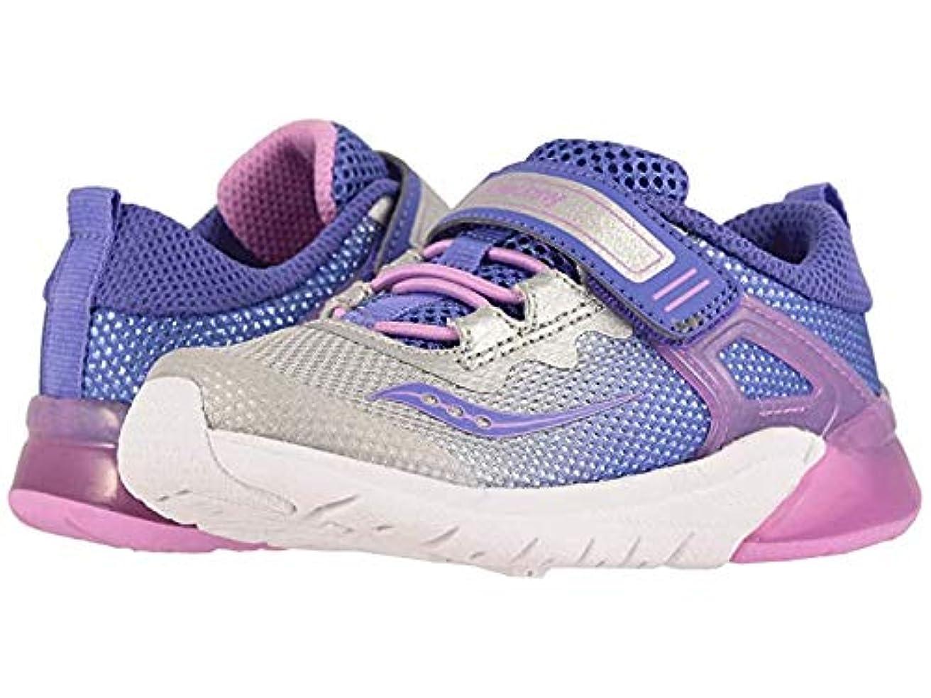 甘やかすフリル葬儀[サッカニー] キッズカジュアルシューズ?靴 Flash Glow Jr (Toddler) Purple/Silver 14-14.5cm XW [並行輸入品]