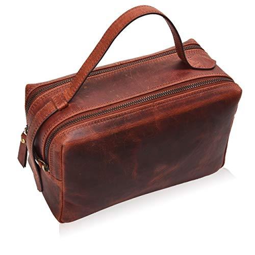Toiletry Bag for Women and Men - Leather Travel Dopp Kit, Shaving or Makeup