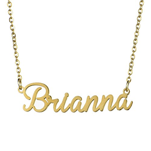 Name Necklace Personalized,Name Necklace Cursive Font Made with Name Pendant 16' Adjustable Chain (Brianna)