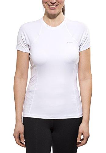 Columbia Femme Manches Courtes Femme Coolest Fonction Manches Courtes Top Medium Blanc - Blanc