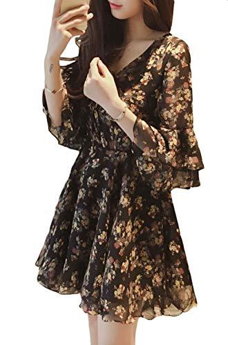ShuMingシフォンワンピース レディース Vネック ファッション ワンピース スピーカースリーブ おしゃれ Aライン 花柄 通気 ビーチ 美しい 夏(12黒)