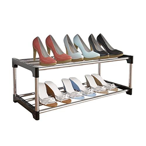 Zapatero de 2 capas pequeño,puede contener 6 pares de zapatos,organizador de almacenamiento de zapatos,adecuado para dormitorio,casa de alquiler,fondo de cama,balcón,negro 58x28x20cm(2 niveles)