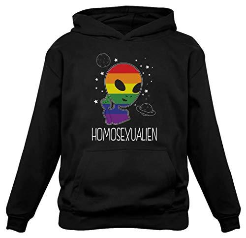 Tstars - Funny Space Rainbow Alien Pride Gay Hoodie Medium Black