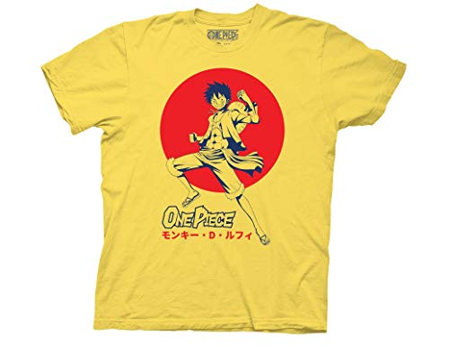 Ripple Junction One Piece Adult Unisex Luffy D. Monkey Crew T-Shirt MD Yellow