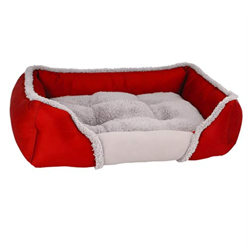 MCSHGPETY huisdier hond kussen bed, grote hond wasbaar zacht schuim waterdichte matras mand bed bank mat, M, Rood