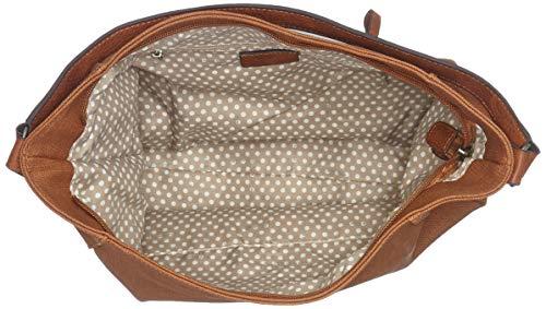 Tamaris Damen Adina Hobo Bag L Schultertasche, Braun (Cognac Comb.) 8x25x41 cm
