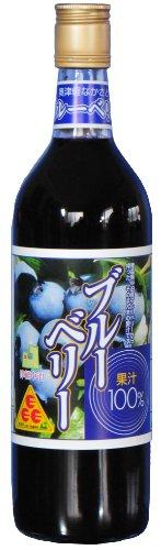 ブルーベリー果汁 100% 720ml 【奥津軽ブルーベリー】 青森県中泊産ブルーベリーから搾ったストレート果汁