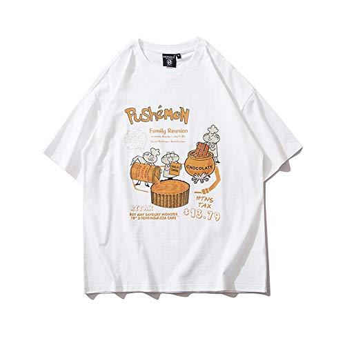 DREAMING-Una Sudadera De Manga Corta De Verano De Camisas con Camiseta De Algodón De Cuello Redondo Estampada Suelta para Hombres Y Mujeres Camisas De Parejas White Large