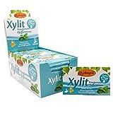Xylitol Goma de mascar menta, chicles dentales, 100% sin azúcar, caja de 24 blisters (12 piezas por blister), sin aspartamo, vegetariana, amigable con los dientes