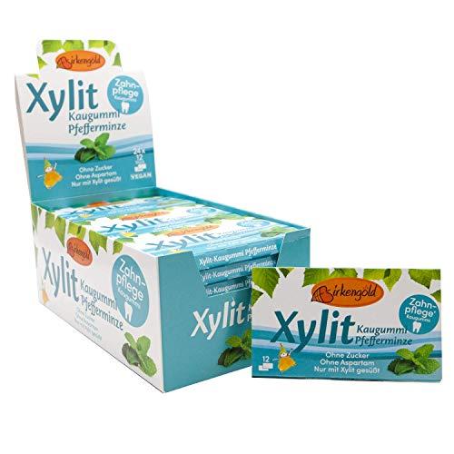 Birkengold Xylit Kaugummi Pfefferminze | 24 Stk. Blister | Zahnpflege-Kaugummi | zuckerfrei | hoher Xylit-Anteil von 70 % | vegan | ohne Titandioxid | ohne Aspartam