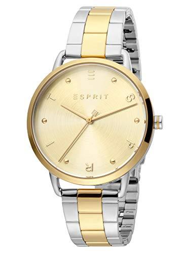 Esprit Reloj de pulsera analógico para mujer ES1L173M0095 Fun Gold de acero inoxidable, bicolor, 3...