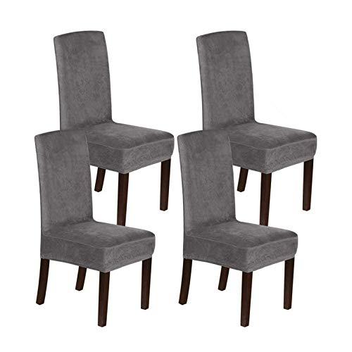 BANGSUN Fundas de terciopelo para sillas de comedor, elásticas, fundas protectoras de tela gris, juego de 4
