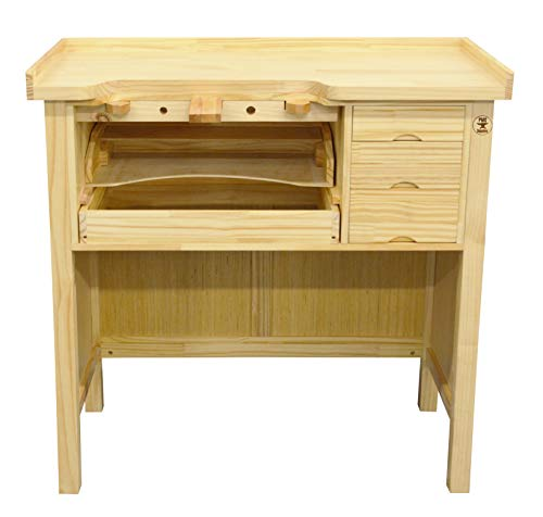 Deluxe Solid Wooden Jewelers Bench Workbench Station with Utility Storage Drawers for Jewelry Making