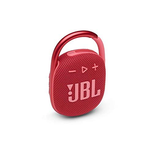 JBL Clip 4 – Mini alto-falante Bluetooth portátil, grande áudio e graves intensos, mosquetão integrado, IP67 à prova d'água e poeira, 10 horas de reprodução, alto-falante para casa, ao ar livre e viagens – (vermelho)