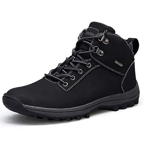 JIANKE Botas de Senderismo para Hombre Zapatillas de Trekking Antideslizante Aire Libre Zapatos Deportes(Negro,39)