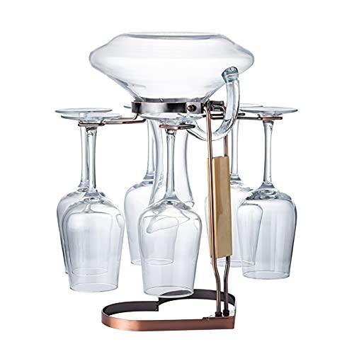STXMY Soporte para Copas de Vino Independiente, Estante de Vidrio Bronce con Base en Forma de Corazón, Estante de Exhibición para 1 Decantador y 6 Vasos, para Gabinete de Cocina o Bar