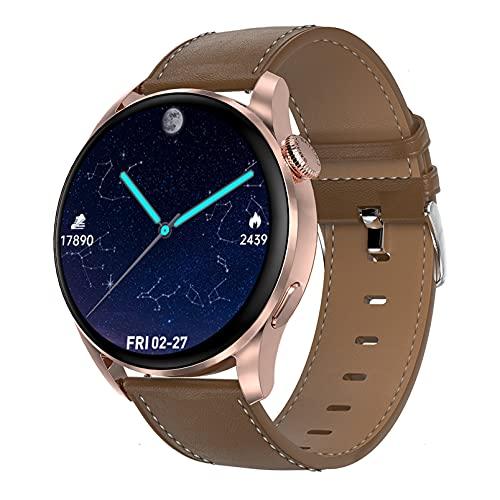 QFSLR Smartwatch Relojes Deporte Reloj De Fitness con Llamada Bluetooth Monitor De Frecuencia Cardíaca Seguimiento del Sueño con Android iOS,Gold a,L