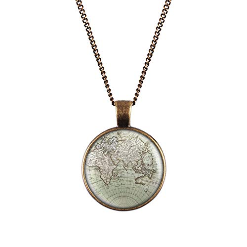 Mylery Hals-Kette mit Motiv Welt Erde Land-Karte Europa Afrika Asien Ozeanien Bronze 28mm