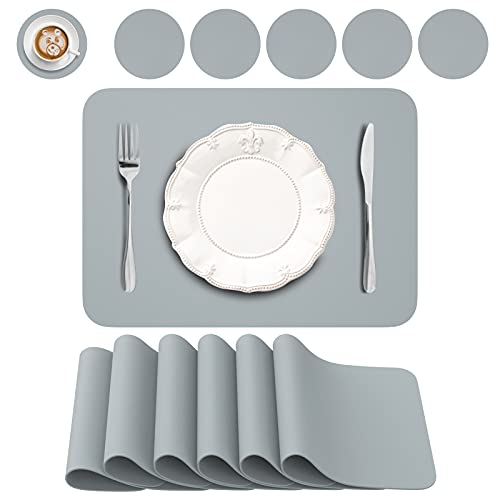BANNIO Lot de 12 Sets de Table,6 Pièces Sets de Tables Lavables et 6 Pièces Dessous de Verre,PVC Set de Table(41 x 31CM),Antidérapant Lavable Chaleur Résiste,Bleu Gris