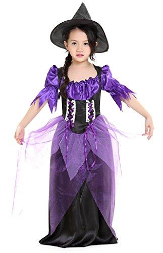 Bigood Costumes Déguisement Cosplay Princesse Sorcière Enfant pour Halloween M