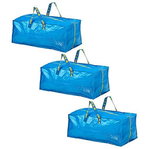 FRAKTAGepäcktasche für Trolleys, blau, Länge: 73cm, Tiefe: 35cm, Höhe: 30 cm, maximale Tragkraft: 25kg, Volumen: 76 l, kann in der Hand oder auf dem Rücken getragen werden, blau, 3-Pack