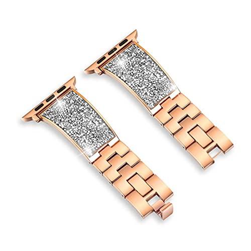 Correa de metal con cierre de diamante para Apple Watch SE Band Series 6 5 4 3 Pulsera de mujer para iWatch 40mm 44mm 38mm 42mm Cinturón de muñeca