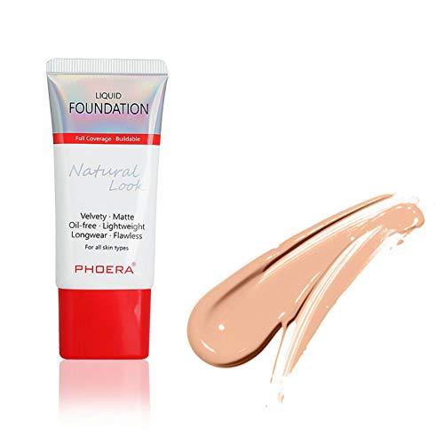 Phorea Fondation liquide, liquid foundation,Fond teint liquide naturel visage,maquillage Nude - Correcteur de couvrance liquide BB creme Fond de Teint Couvrant Liquid Foundation 30 ml