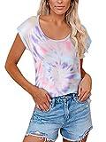 YOINS - Camiseta para mujer, camiseta sexy para verano, cuello redondo sin mangas, con estrellas multicolor-rosa M