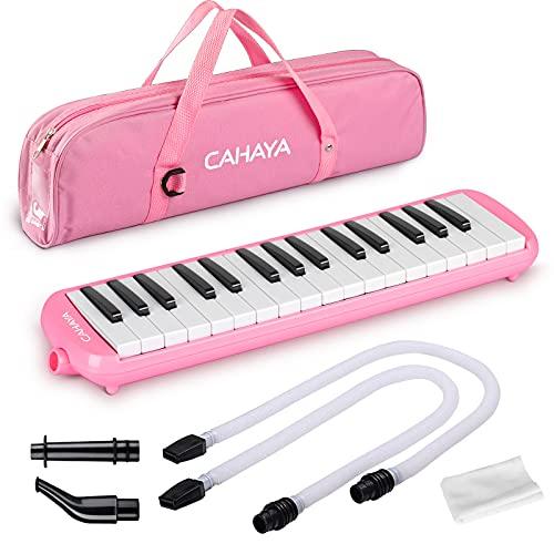 CAHAYA Melódica Piano de Viento con 32 Teclas Incluye Tubo de Soplado Boquilla y Bolsa de Transporte (Rosa)