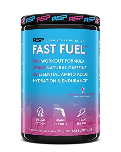 RSP Fast Fuel - Pre Workout Powder, Energy, Endurance, Hydration with Natural Caffeine, Electrolytes, EAAs, Beta Alanine, Creatine, Arginine (30 Servings) (Miami Vice Coconut Colada)