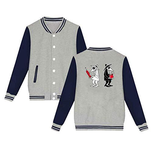 Lanmei Spy Vs Spy Unisex Hipster Baseball Uniform Jacket Sport Coat Gray