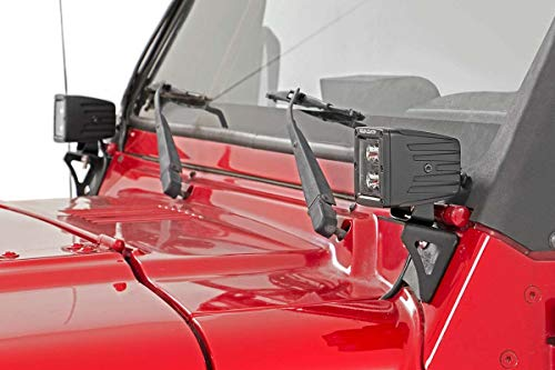 Rough Country Lower Windshield LED Bracket (fits) 1997-2006 Jeep Wrangler TJ | LJ Unlimited | Light not Included | 6003