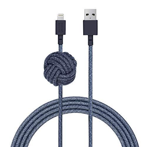 Native Union NIGHT Kabel - 10ft Ultra-Strong Versterkte [Apple MFi Certified] Lightning naar USB Opladen Kabel met Gewogen Knoop voor iPhone/iPad. Indigo