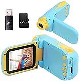 berhaya Kinderkamera, Digital Kinderkamera 1080P HD 32G Speicherkarte 2,4-Zoll-HD-Bildschirm, wiederaufladbare Kinderspielzeugkamera Geburtstagsgeschenk für Kinder Jungen Mädchen 2-7 Jahre alt(Blau)