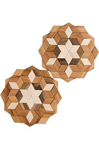 ECOVOO Wood Pot Trivet For Hot Dishes Set of 2 - Large Hot Trivet For Pots and Pans - Round Trivet Mat for Countertop - Hot Plates for Table - Kitchen Hot Pads and Wooden Placemats