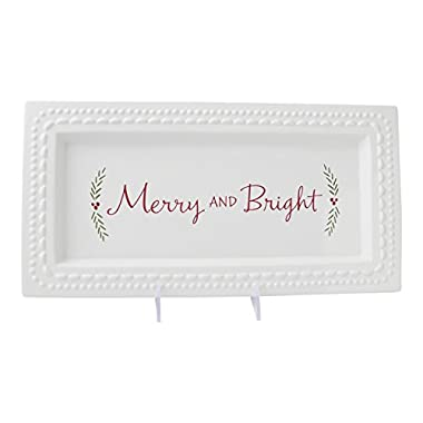 Hallmark Home Holiday Serving Platter, White Ceramic Dish with Red  Merry & Bright