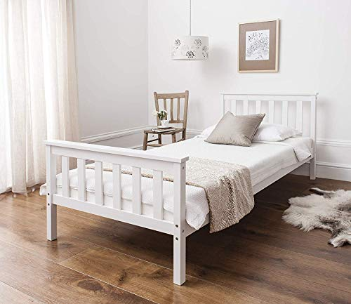 Panana Single Bed Frame, 3FT Pure Solid Wood Frame Bed Base White Bedroom Furniture For Adults, Kids, Teenagers