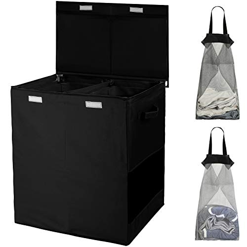 HOUSE AGAIN Sturdy Double Laundry Hamper with Lid and Removable Laundry Bags,2 Large Dividers Dirty Clothes Basket with Handles for Bedroom, Laundry...