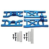4pcs Aluminum Front Rear Lower Suspension A-Arms for Ecx Ruckus Parts Ecx Torment Parts Ecx Amp Mt Upgrades Suspension Ecx 2wd Hop-Up Parts(Dark Blue)