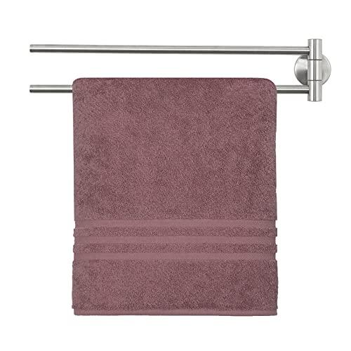 Sanduby Toallero sin necesidad de taladrar, doble toallero, dos brazos, SUS304, acero inoxidable cepillado, montaje en pared, para cuarto de baño o cocina